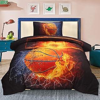 Sisher 3D Basketball Comforter Set Twin, 2-Pieces Ultra...