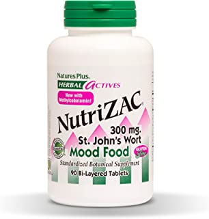 NaturesPlus Herbal Actives NutriZAC Mood Food - 300 mg St Johns Wort, 90 Vegan Bi-Layered Tablets - Maximum Potency Natural Mood Booster - Vegetarian, Gluten-Free - 90 Servings