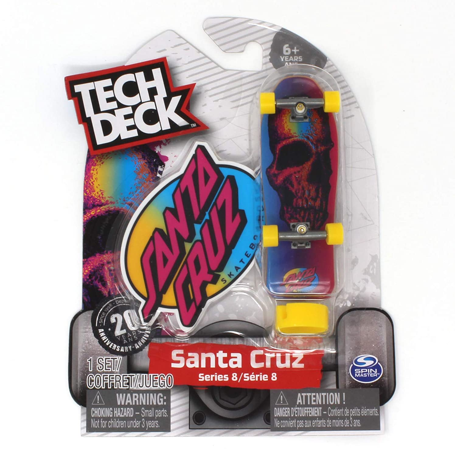 Tech Deck Santa Cruz Skateboards Series Pink Rainbow Skull Fingerboard - 20094608