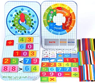 6 in 1 Counting Sticks/ Weather/ Season/ Week/ Math/ Clock Cognition Montessori Match Puzzle Games Toys, Multifunction Educational Learning Kids Preschool Wooden Toys for Toddlers Birthday Gifts