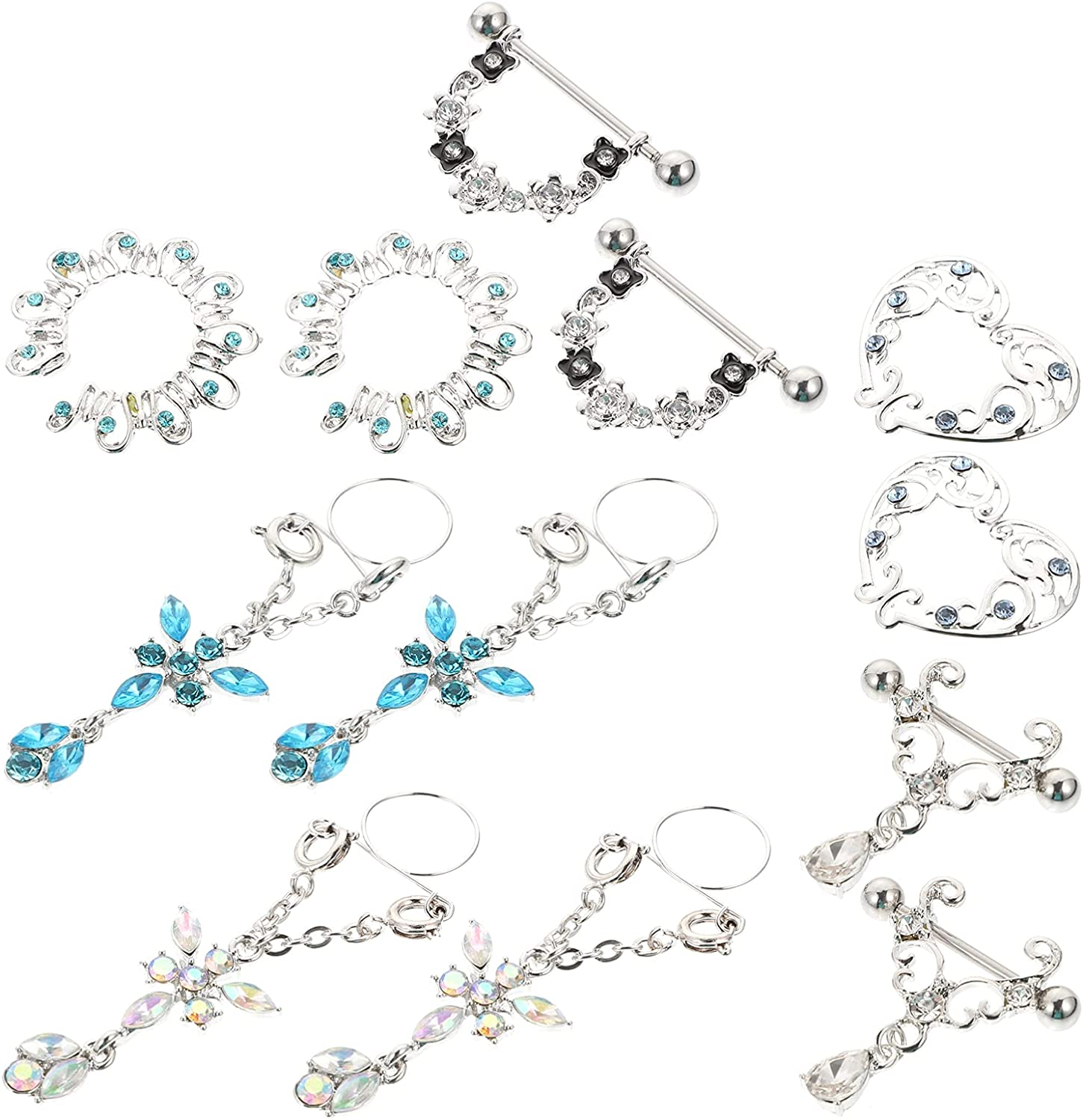 HEALLILY 6 Pairs Nipple Rings Barbell Tongue Rings Nipple Heart Piercing Dangle for Women Rhinestone Crystal Flower Chest Jewelry
