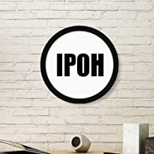 DIYthinker Ipoh Malaysia City Name Art Painting Picture Photo Wooden Round Frame Home Wall Decor Gift Medium Black
