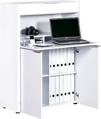 Marchio Amazon -Movian Mjøsa - Scrivania funzionale per lavorare in piedi, 39 x 86 x 122 cm, colore bianco lucido