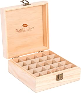 Plant Therapy Essential Oil Storage Box Case   Wooden Organizer Holds 25 Bottles 5 mL, 10 mL and 15mL Sizes   Pine Wood Ho...