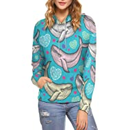 INTERESTPRINT Women's Hoodies Sweatshirt with Pocket Hearts Curls Pullover Long Sleeve