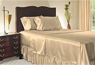 Sweet Dreams Silky Satin Sheet Set - Olympic Queen - Champagne, Wrinkle Free and Stain Resistant Super Soft Luxury Satin Bed Sheets and Pillowcase Set with Extra Deep Pockets