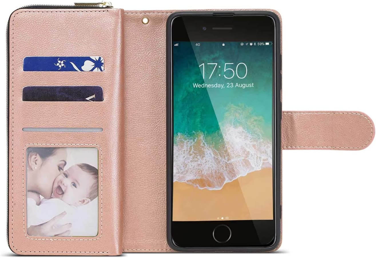 Magnetic Closure ZCDAYE Wallet Case for iPhone 7 Plus//8 Plus,Premium Folio PU Leather Flip Case Cover with 9 Card Slots Kickstand for iPhone 7 Plus//8 Plus 5.5-Rose Gold Zipper Pocket