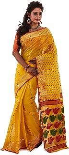 SareesofBengal Women's Jamdani Handloom Tangail Cotton Bengal Tant Saree