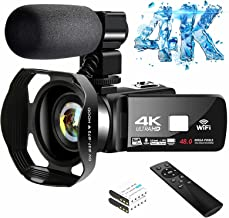 4K Video Camera Ultra HD Camcorder 48.0MP IR Night Vision Digital Camera WiFi Vlogging Camera with External Microphone and...