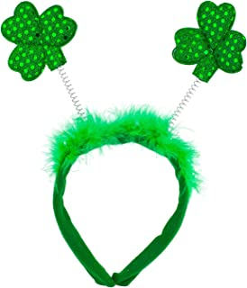 Lux Accessories Green Saint Patrick Day Clover Inspired Feather Fashion Headband