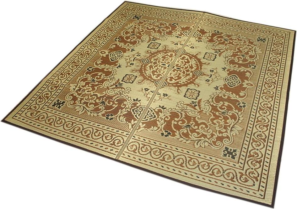 純正強度こだわり和室にも洋室にも似合う絨毯柄のい草ラグ「シンドラー」191x191(2畳用:正方形) 【裏貼、防ダニ?防カビ加工】