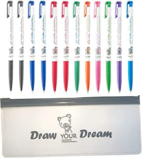 Xeno Slim Ball Point Pens - 0.38 Mm (Pack of 12) 9 Color Mix With Additional