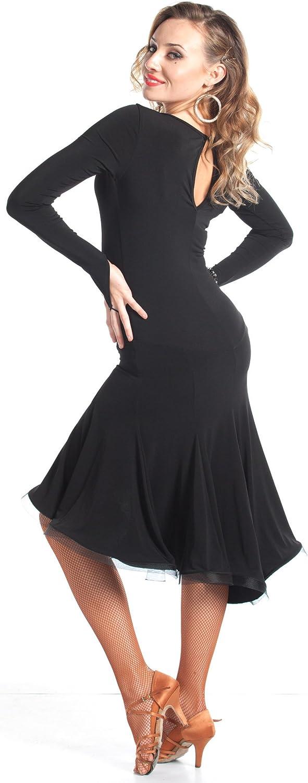 DanceLuxe Latin Dance Dresses for Women   Premium Quality   Ballroom Dance Dress   Novella Black