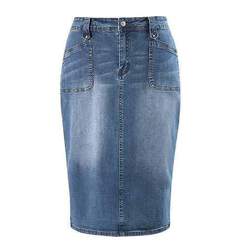 14e48c8332 MSSHE Women's Plus Size High Waist Stretchy Pencil Denim Midi Skirt