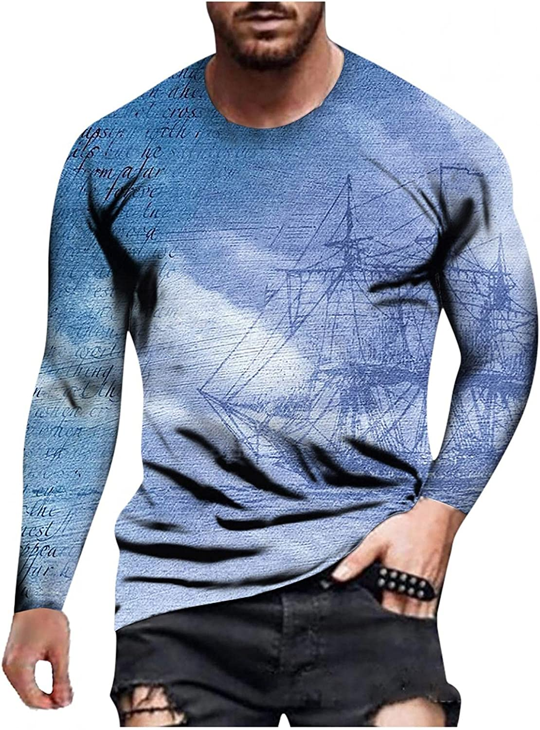 Aayomet T Shirts for Men Fashion Printed Long Sleeve Round Neck T-Shirt Casual Sport Workout Athletic Tee Tops Shirts