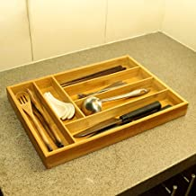 YATAI Bamboo Cutlery Tray & Utensil Organizer For Kitchen Drawers - 6 Compartments Cutlery Holder For Silverware & Cooking...