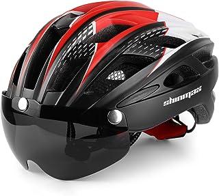 comprar comparacion Shinmax Casco Bicicleta con luz, Certificación CE,con Visera Magnética Seguridad Ajustable Desmontable Deporte Gafas de Pr...