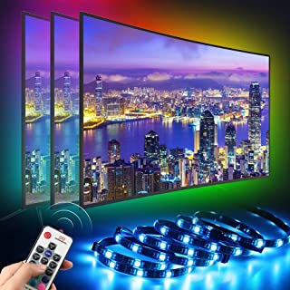 infinitoo LED TV Backlight, 6.56ft Colorful 5050 RGB LED Strip Lights for HDTV up to 60 inch with 17 Keys Remote Control for TV, Computer, Monitor