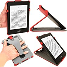 iGadgitz Red PU Leather Case Cover for Amazon Kindle Paperwhite 2015 2014 2013 2012 with Sleep/Wake Function & Integrated Hand Strap