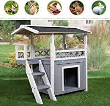 Sandinrayli Wooden Dog Pet House Cat Room Puppy Kennel Indoor Outdoor Shelter w/Roof