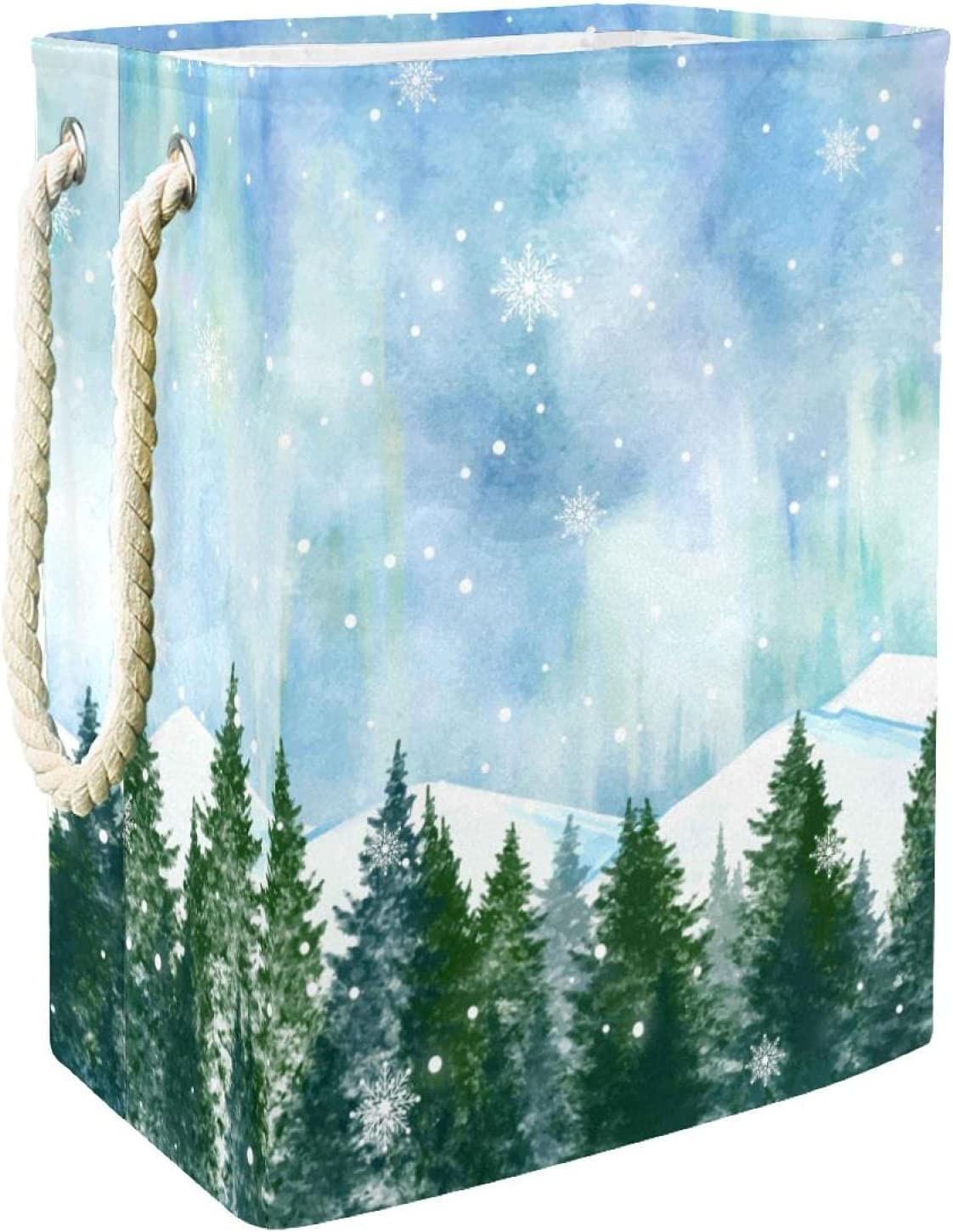Inhomer Max 90% OFF Laundry Hamper Snowy Laundr Seattle Mall Landscape Winter Collapsible