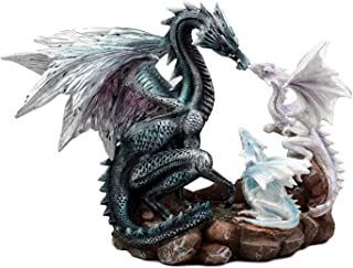 LARGE ANCIENT AZURE DRAGON AND BABY DRAGONLINGS FAMILY UNIT STATUE COLLECTIBLE FIGURINE