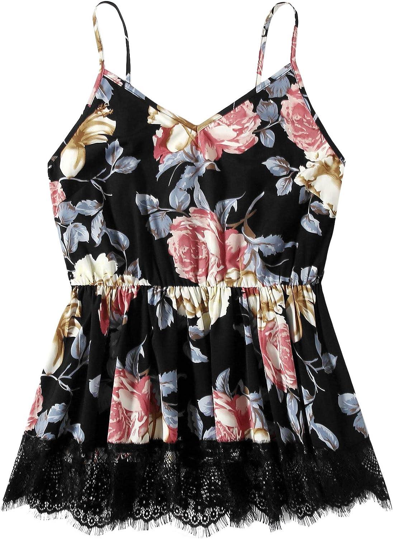 MakeMeChic Women's Plus Size V Neck Floral Print Ruffle Hem Peplum Cami Tank Top
