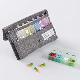 CFQF Weekly Pill Case Organizer for Travel 4 Times A Day with Reminder, 7 Day Medium Compartment Medicine Pill Box for Pills/Vitamins/Fish Oil/Supplements Rainbow