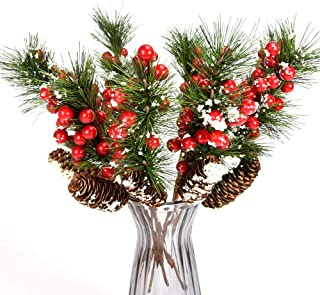 YSBER 14 Inch Artificial Berries Branch Plastic Fake Flowers 8 Pieces–Snow Flocked Red Holly Berry Pine Cone for DIY Christmas Crafts Party Festive Home Décor