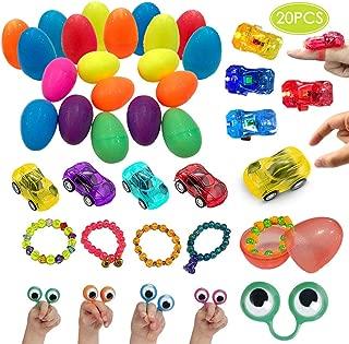 UNGLINGA Pre Filled Easter Eggs with Toys Inside Plastic Surprise Egg Hut Easter Basket Stuffers for Boys Girls - Pull Back Cars, Eyes Finger Puppet, Light Up Ring, Bead Bracelets