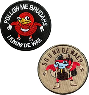 "2 Packs Ugandan Knuckles""Do U No De Wae?"" and ""Follow Me Brudahs I Know De Wae"" Funny Tactical Game Combat David Patch"
