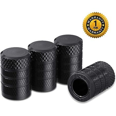 4*ALUMINUM METAL BLACK ALLOY TIRE//RIM VALVE AIR PORT DUST COVER STEMS CAP//CAPS
