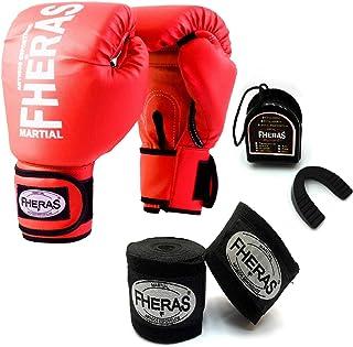 6fb92bfe6 Kit Boxe Muay Thai - Luva + Bandagem + Bucal Vermelho - Fheras