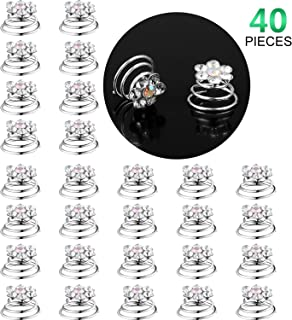 40 Pieces Crystal Rhinestone Spiral Hair Pins Swirl Hair Twists Coils Faux Pearl Hair Spiral Jewelry for Wedding Party (Style Set 3)