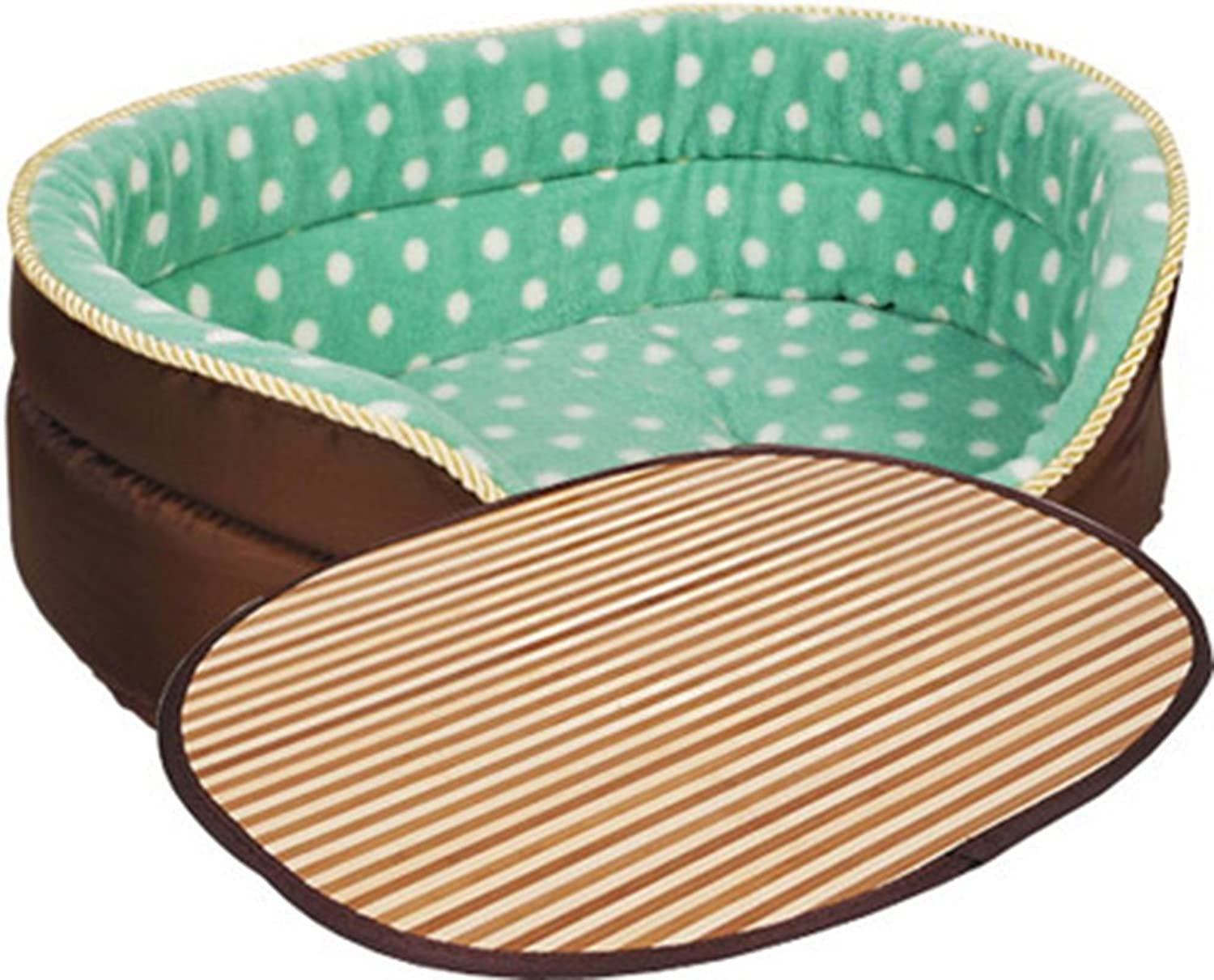 Pet bed can be separated cleaning PP cotton warm four seasons common cave green ( color   Cool mats section , Size   80cm )