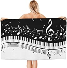 Black and White Piano Music Notes Sand Free Beach Towels Absorbent Oversized Bath Towel Large Hand Towels for Swimming Bat...