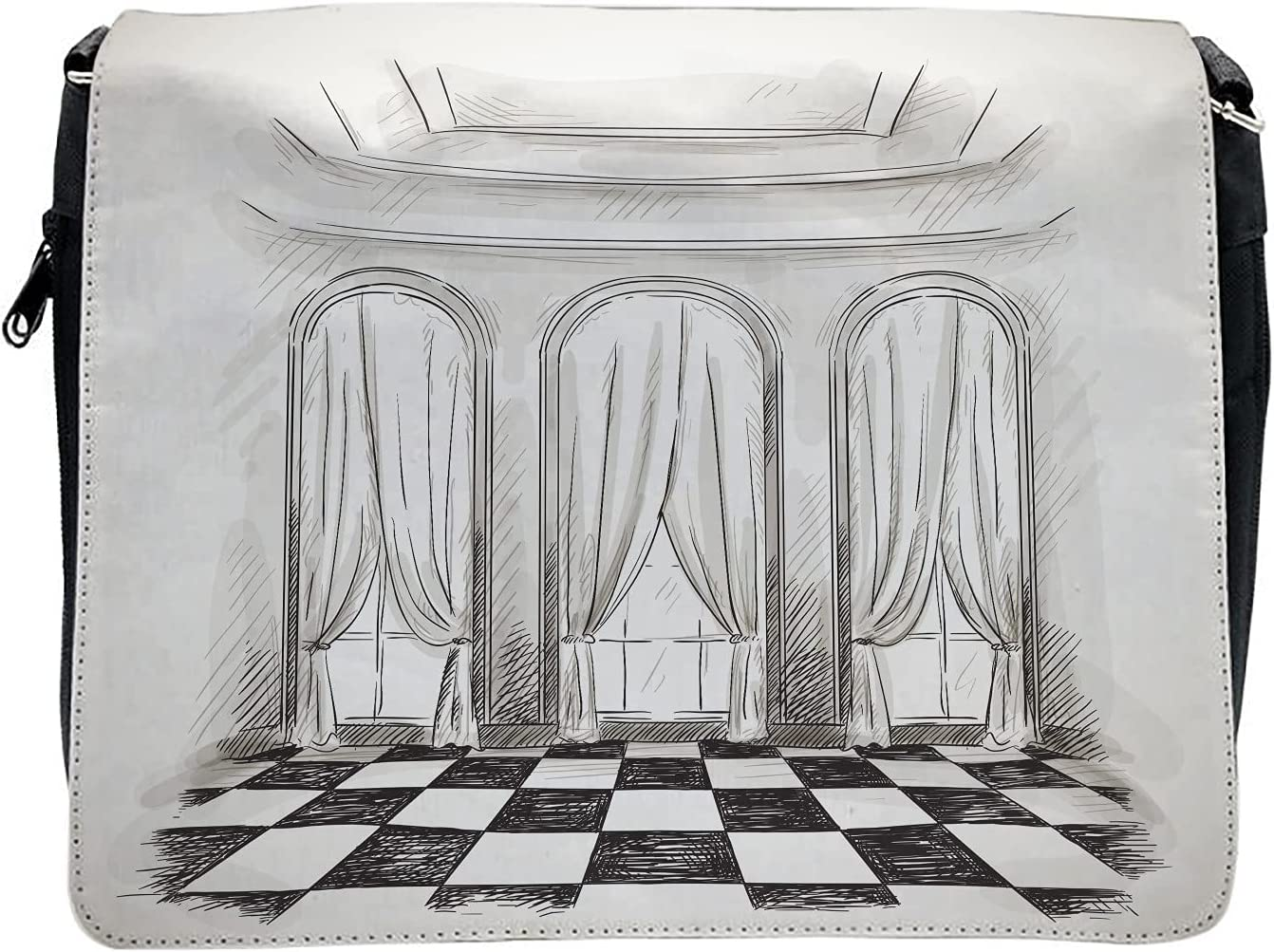 Ambesonne Sketch Cross Body Messenger Bag, Castle Baroque Curtains, Unisex