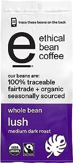 ETHICAL BEAN Fairtrade Organic Coffee, Lush Medium Dark Roast, Whole Bean Coffee - 100% Arabica Coffee (12 oz Bag)