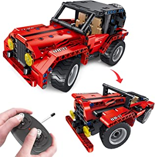 FunLittleToy STEM Building Toys, 2 in 1 Remote Control Car, RC Truck Building Blocks Set for 7, 8 and 9 Year Old Boys, Gift Ideas for Kids Age 7-14