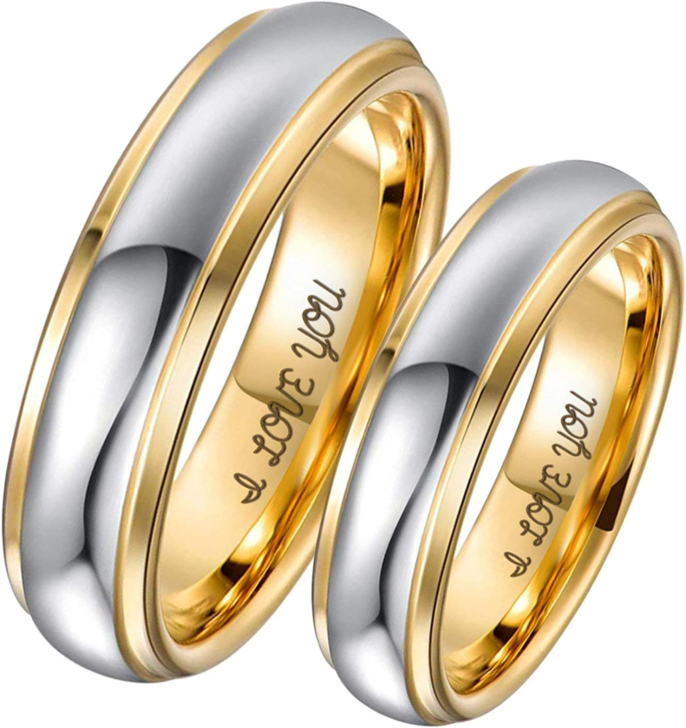 Aeici 4MM 6MM Tungsten Couple Ring Two Tones Engraved I Love You Wedding Rings Engagement Rings for Men Women