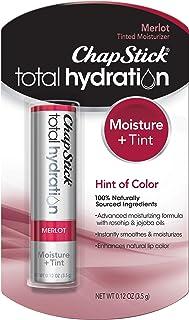ChapStick Total Hydration Moisture + Tint Merlot Tinted Lip Balm Tube, Merlot Tinted ChapStick for Lip Care - 0.12 Oz