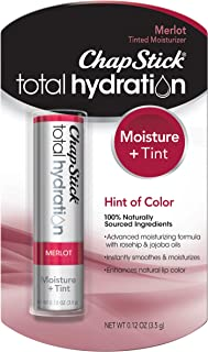 ChapStick Total Hydration (Merlot Tint, 1 Blister Pack of 1 Stick) Tinted Moisturizer, 100% Natural Lip Color and Lip Treatment, 0.12 Ounce