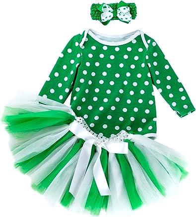 f15b7d0ea91f ALLAIBB Newborn Baby Girl St. Patrick s Day 3Pcs Costume Outfit+Romper+Tutu  Skirts