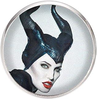 Spilla con perno in acciaio inossidabile, diametro 25 mm, spillo 0,7 mm, Fatto a Mano, Illustrazione Maleficent 3