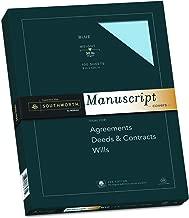 "Southworth 25% Cotton Paper Blue Manuscript Covers, 9"" x 12.5"", 30 lb. Cover Weight, Blue, 100 Sheets (41S)"