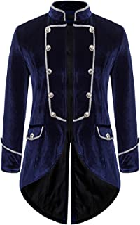 FSFA Men's Tuxedo Long Gothic Winter Warm Vintage Overcoat Slim Fit Button Costume Long Trench Coat Button Uniform Jacket ...