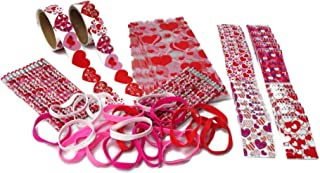 Valentines Day Party Favors- Pencils, Notebooks, Stickers, Bracelets, and Treat Bags (24 Pack)