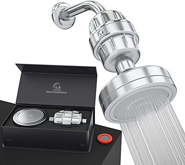AquaHomeGroup Luxury Filtered Shower Head Set 15 Stage Shower Filter For Hard Water Removes Chlorine And Harmful Substances Showerhead Filter High Output