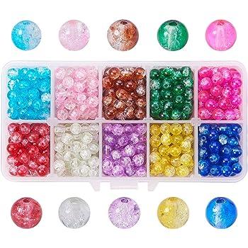 PandaHall 4mm 6mm 8mm Crackle Glasperlen 2720pcs 24 Farbe Glas Crackle Lampwork Runde Perlen F/ür Halskette Armband Schmuckherstellung