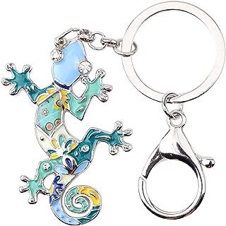 Enamel Metal Gecko Lizard Key Chains For Women Car Purse bag Rings Charms Gift